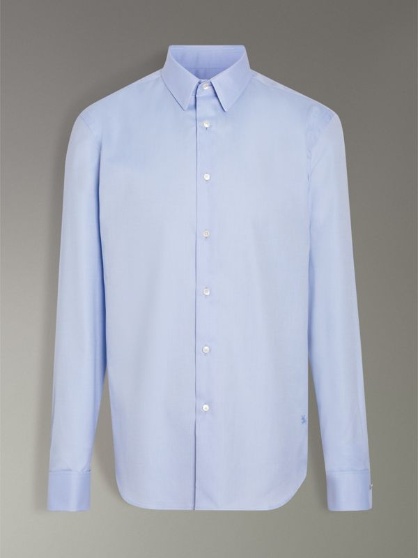 Modern Fit Double Cuff Cotton Shirt in Mid Blue - Men | Burberry Singapore - cell image 3