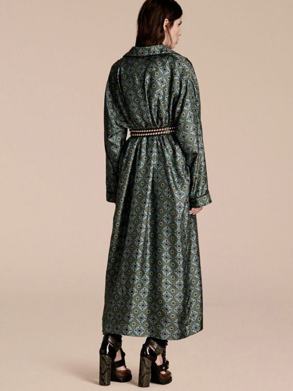 Lawn green Geometric Tile Print Silk Twill Dressing Gown Coat - cell image 2