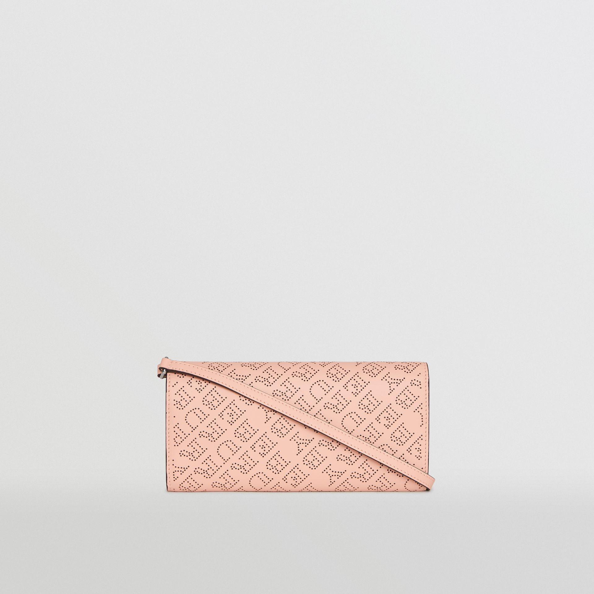 Perforated Logo Leather Wallet with Detachable Strap in Pale Fawn Pink - Women | Burberry United Kingdom - gallery image 7