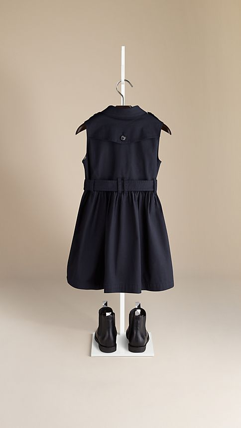 Navy Sleeveless Stretch Cotton Trench Dress - Image 2