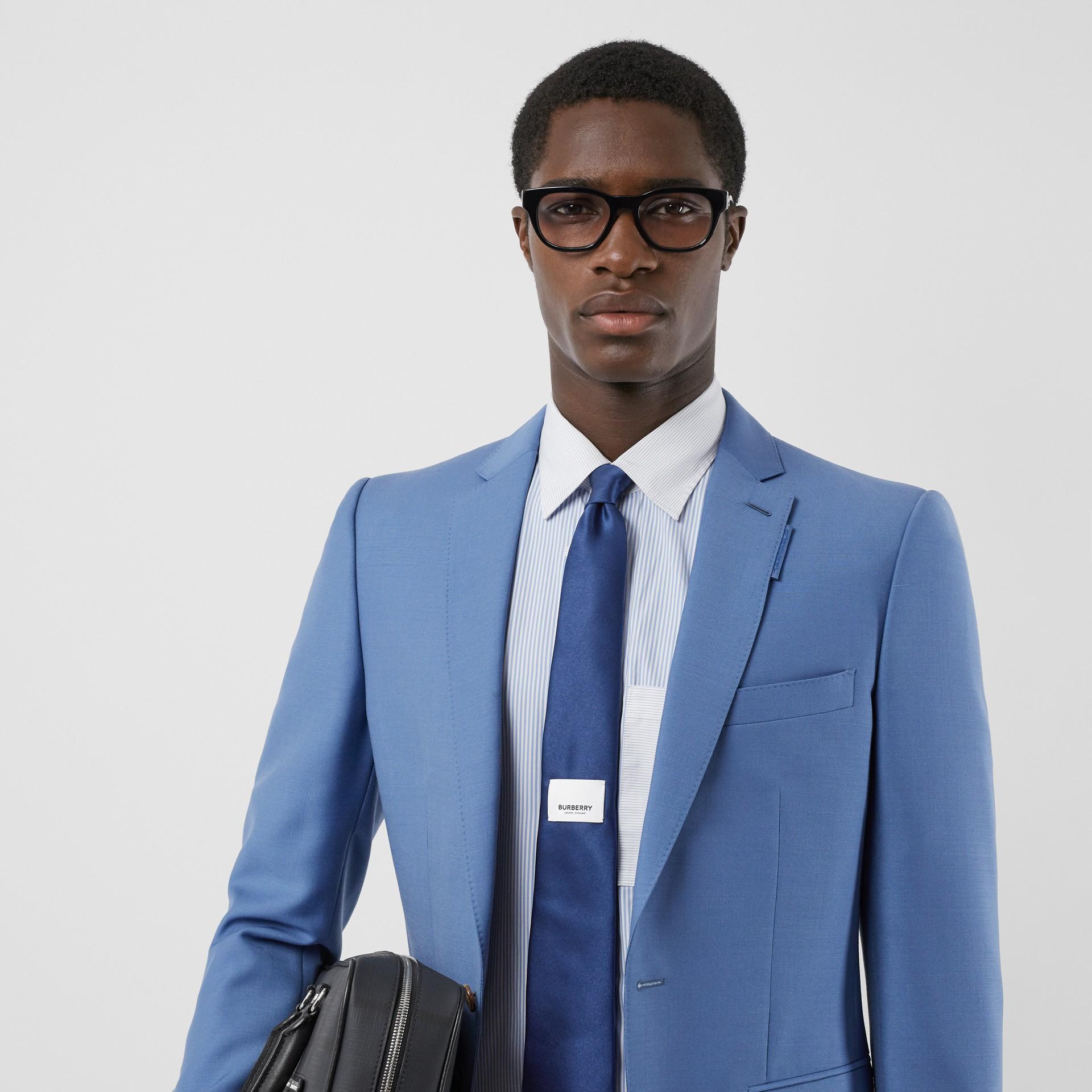 Classic Cut Logo Appliqué Silk Satin Tie in Sapphire Blue - Men | Burberry - gallery image 2