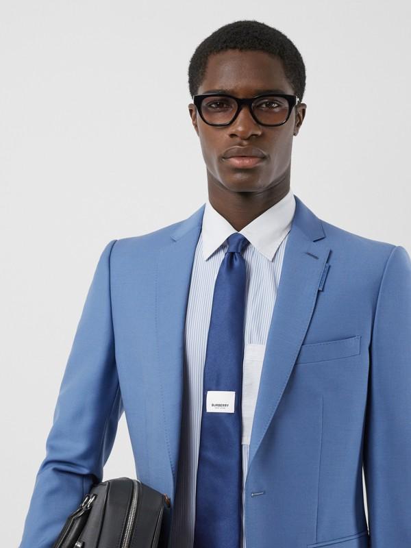 Classic Cut Logo Appliqué Silk Satin Tie in Sapphire Blue - Men | Burberry - cell image 2