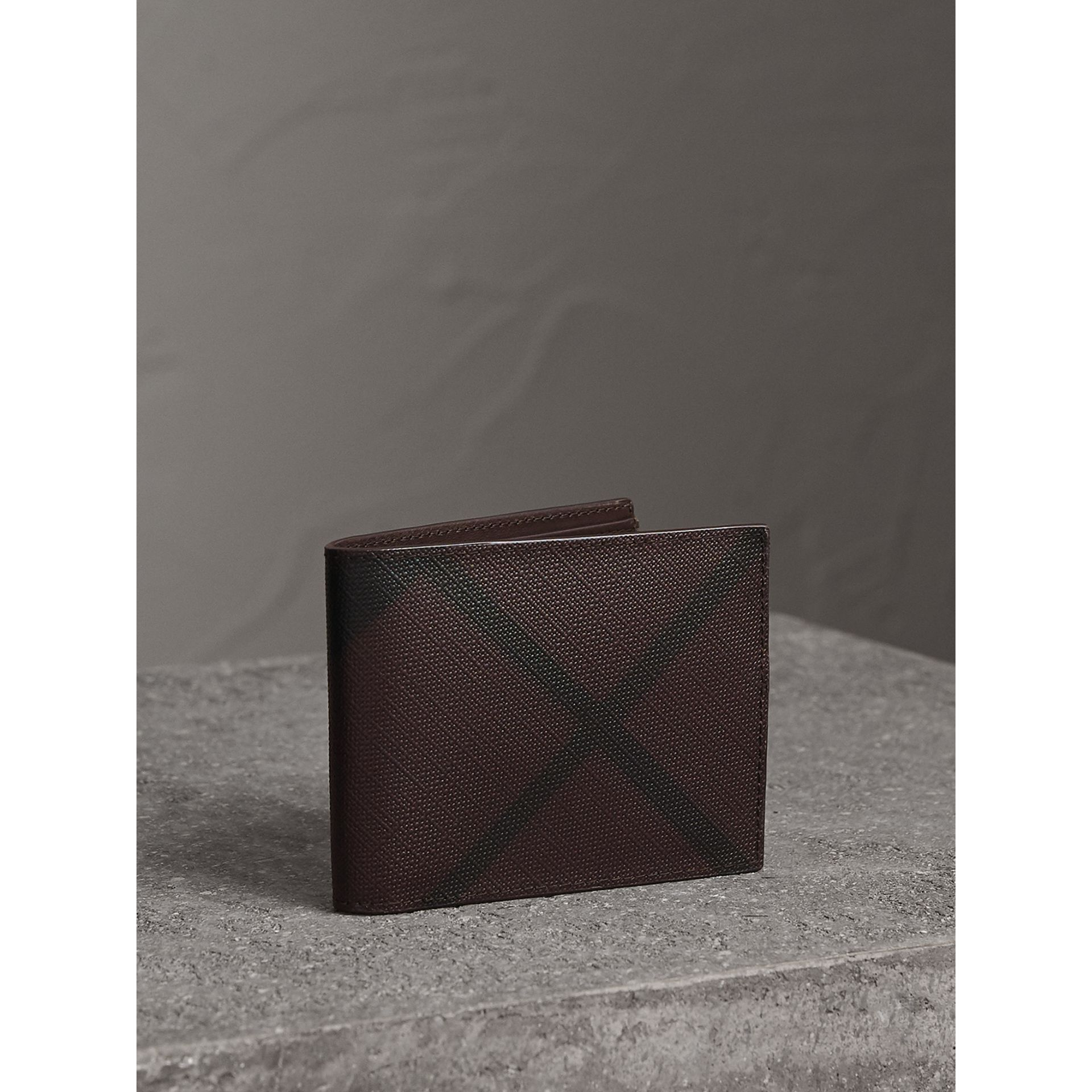 London Check Bifold Wallet in Deep Claret - Men | Burberry United Kingdom - gallery image 1