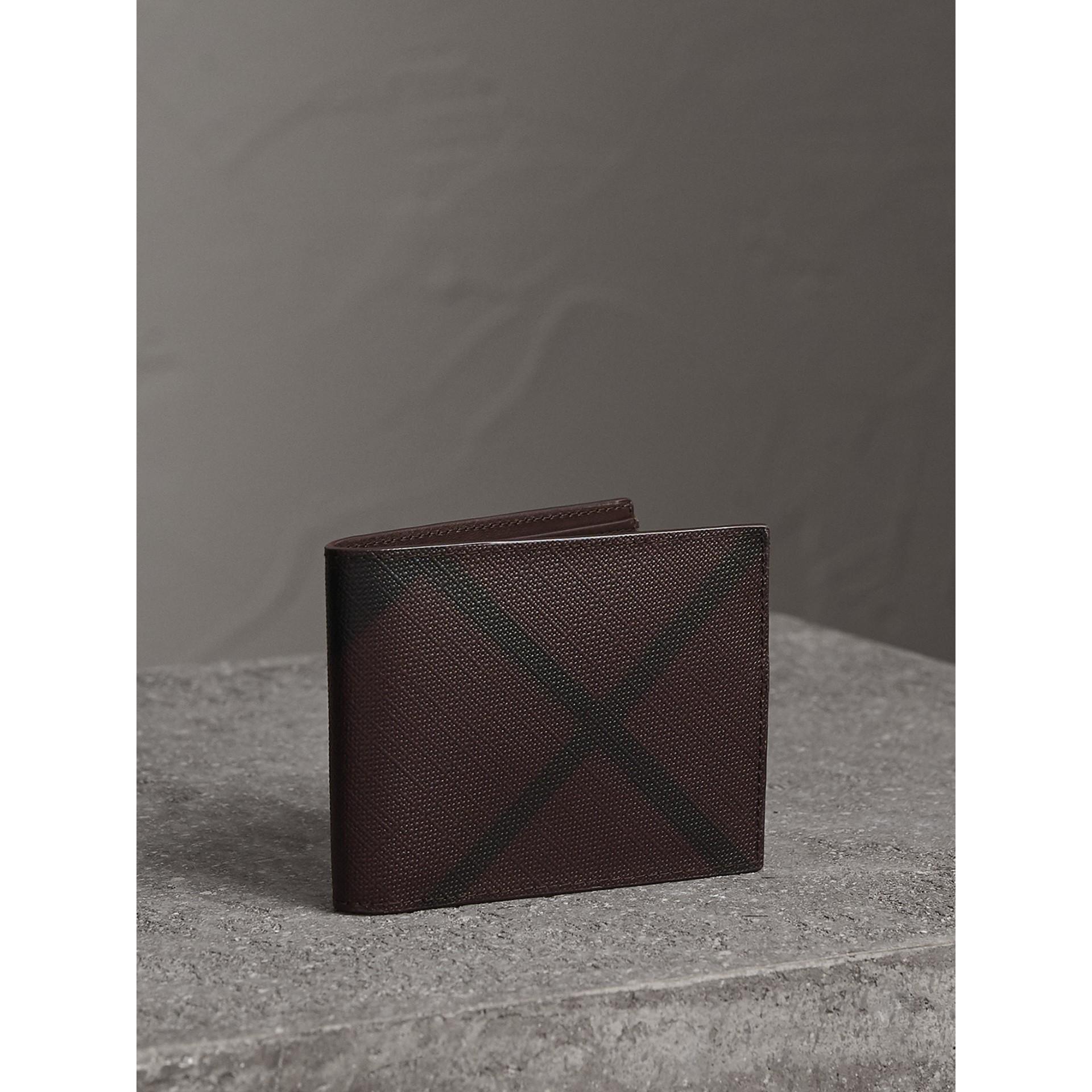 London Check Bifold Wallet in Deep Claret - Men | Burberry - gallery image 1