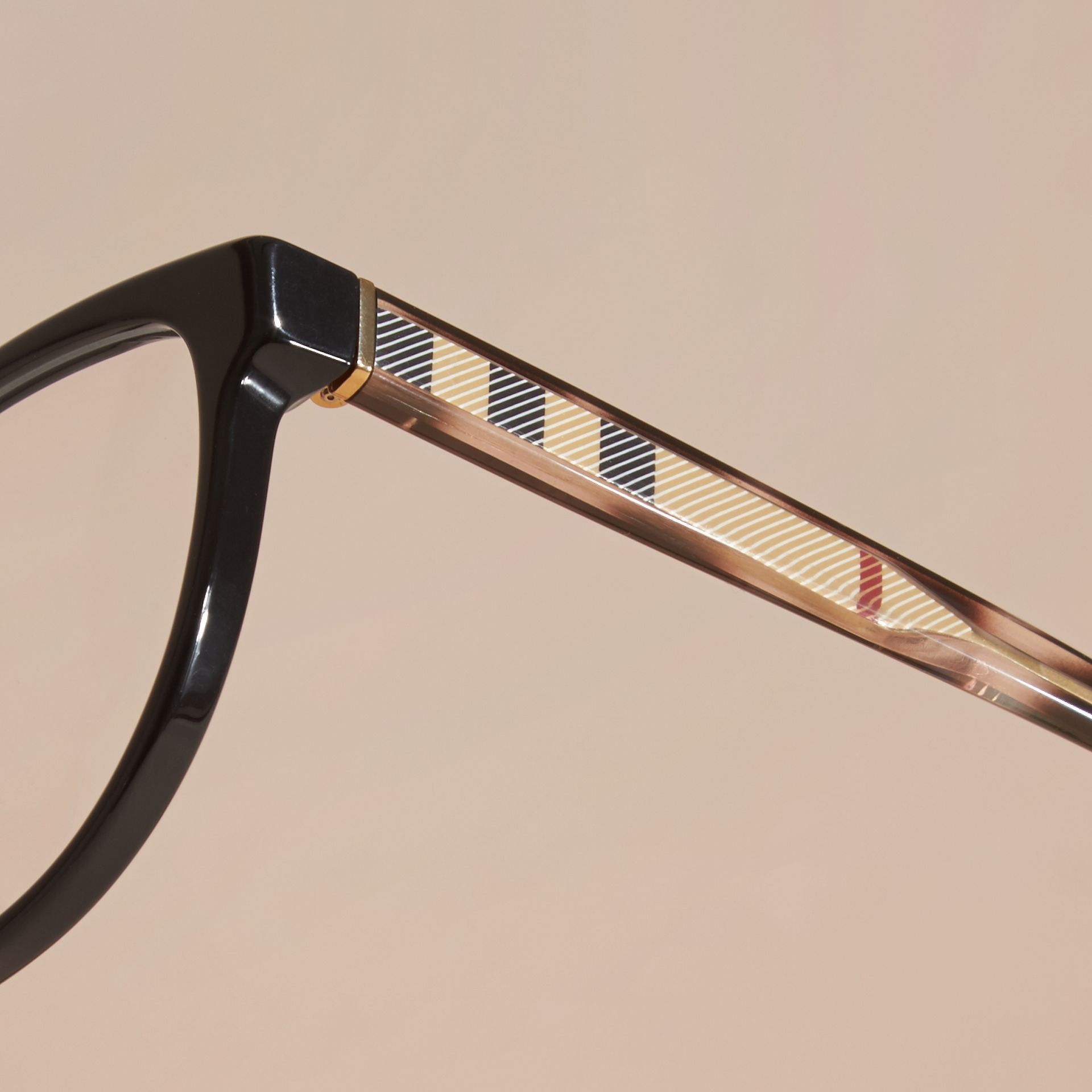 Black Check Detail Round Optical Frames Black - gallery image 2