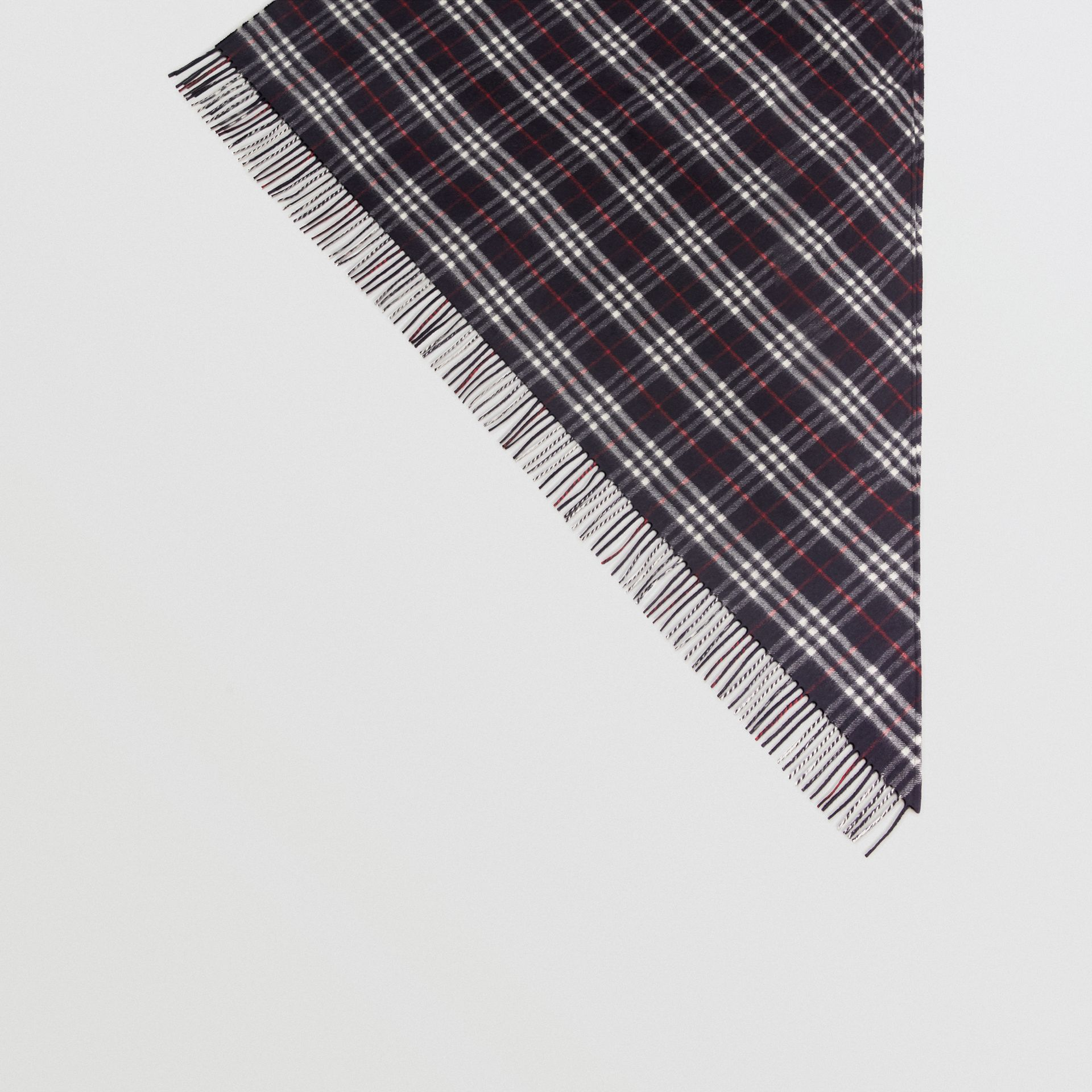 The Burberry Bandana in Check Cashmere in Navy | Burberry United Kingdom - gallery image 4