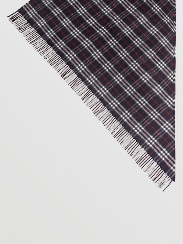 The Burberry Bandana in Check Cashmere in Navy | Burberry United Kingdom - cell image 2