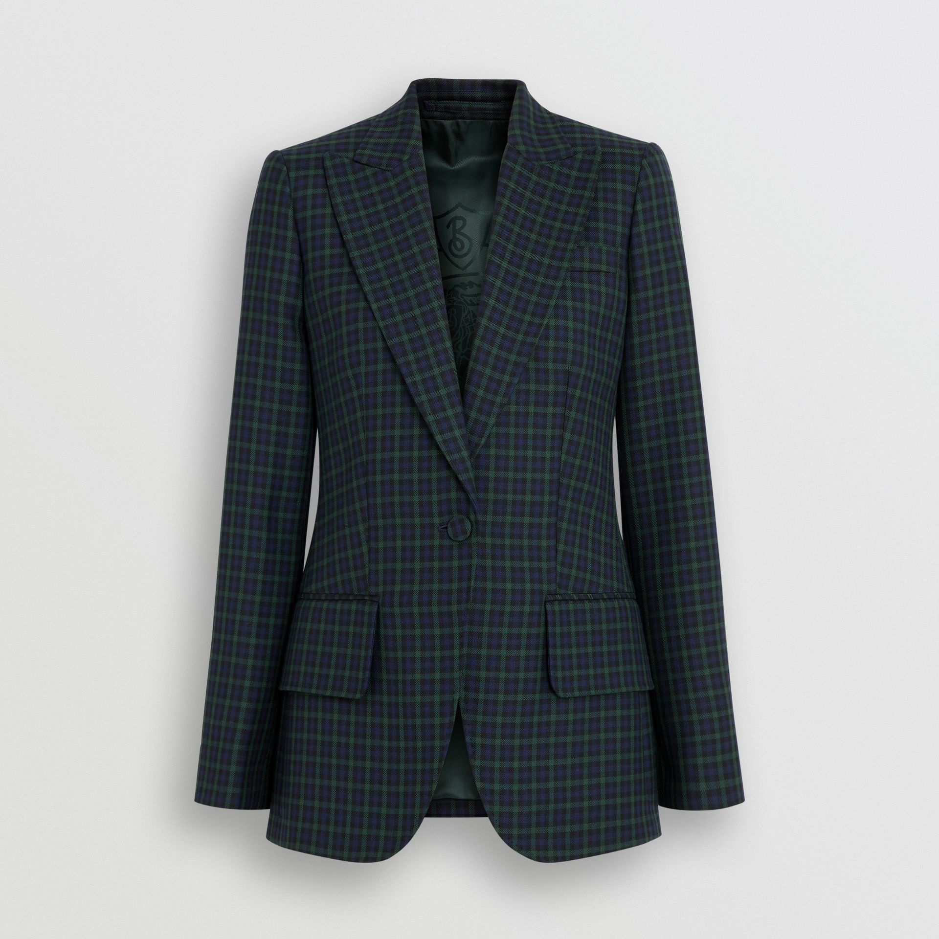 Check Stretch Wool Blazer in Navy - Women | Burberry United Kingdom - gallery image 3