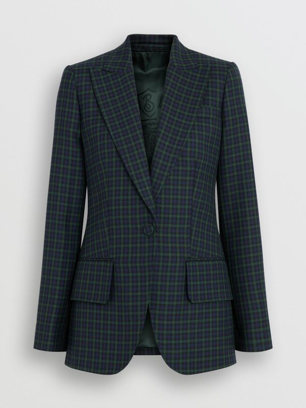 Check Stretch Wool Blazer in Navy - Women | Burberry United Kingdom - cell image 3