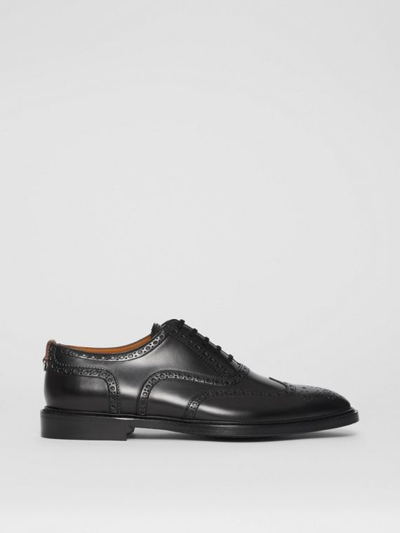 D-ring Detail Patent Leather Oxford Brogues in Black
