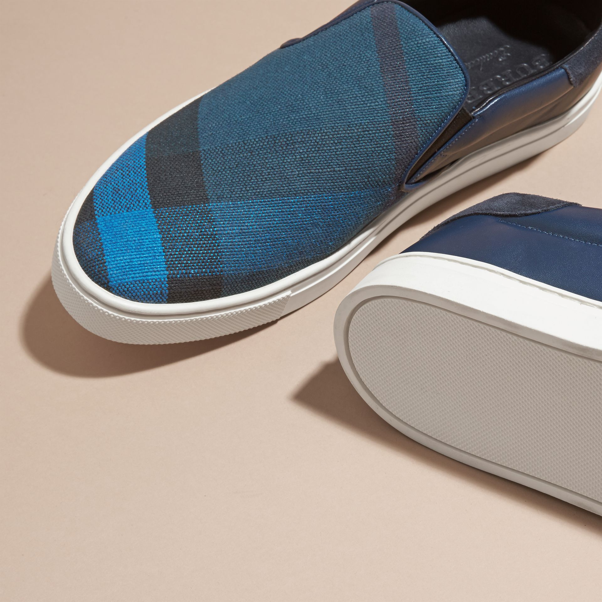 Ultramarine blue/blk Canvas Check and Leather Slip-on Trainers Ultramarine Blue/blk - gallery image 5