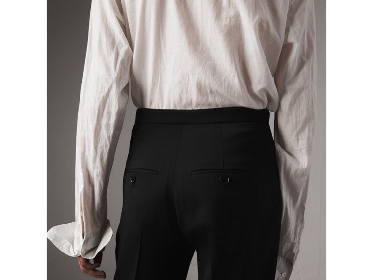 Wool Wide-leg Trousers in Black - Women | Burberry Canada - cell image 4