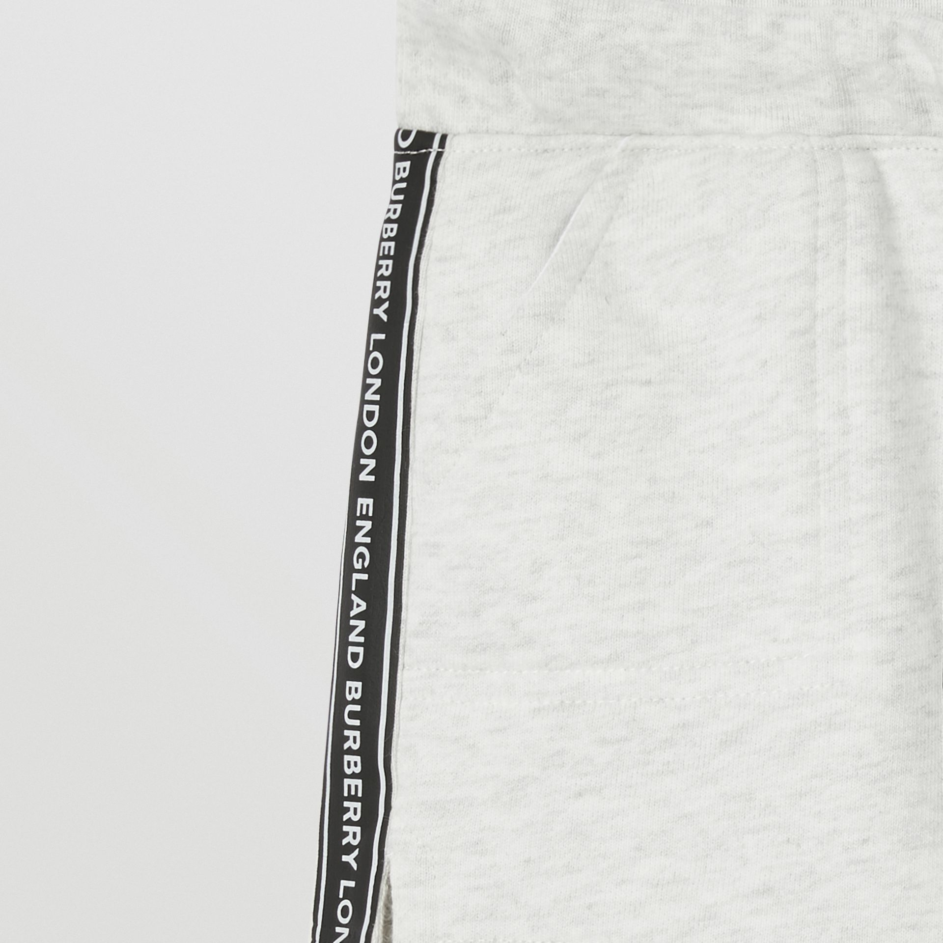 Logo Tape Cotton Drawcord Shorts in White Melange - Children | Burberry - gallery image 5