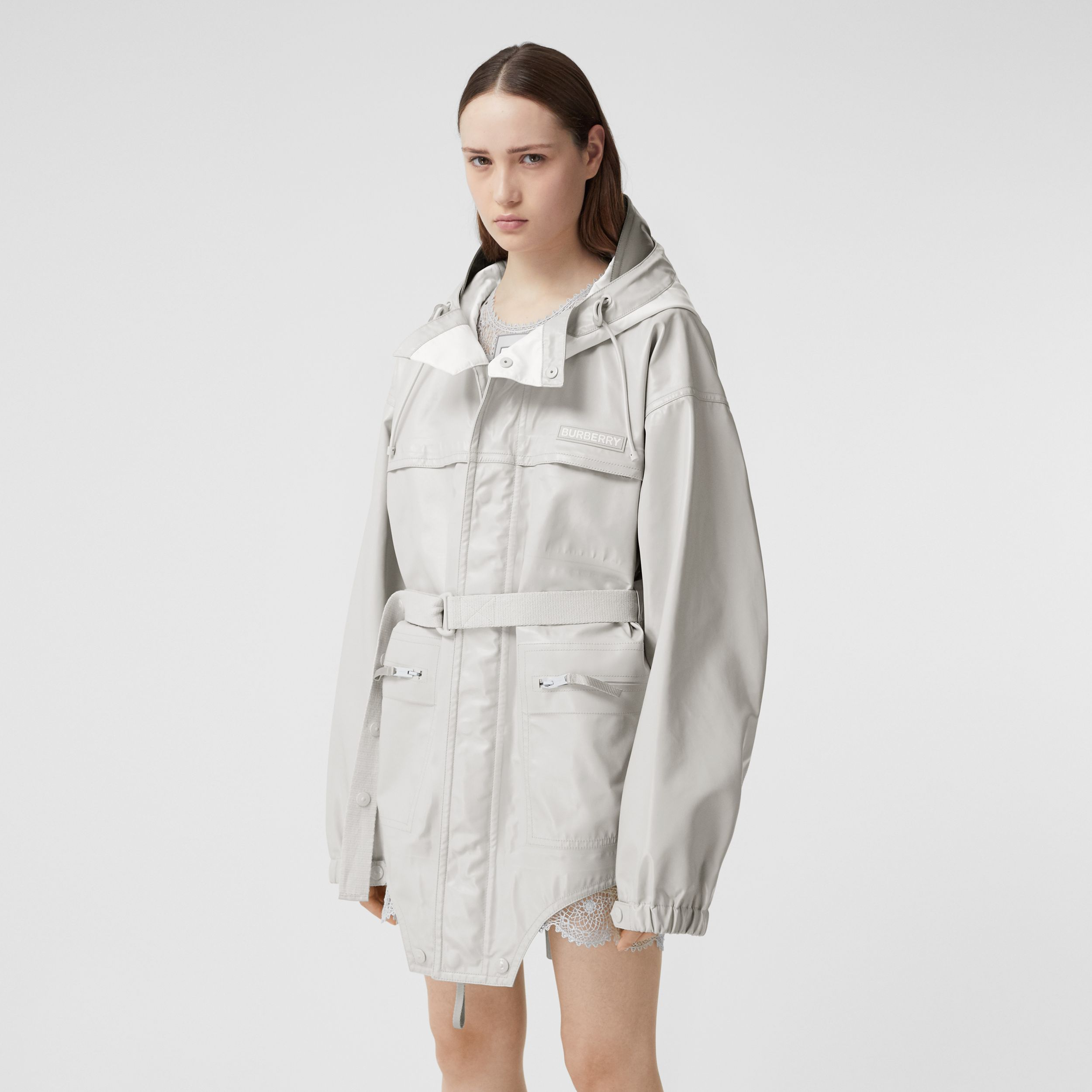 Cut-out Hem Coated Nylon Parka in Light Pebble Grey - Women | Burberry Singapore - 1