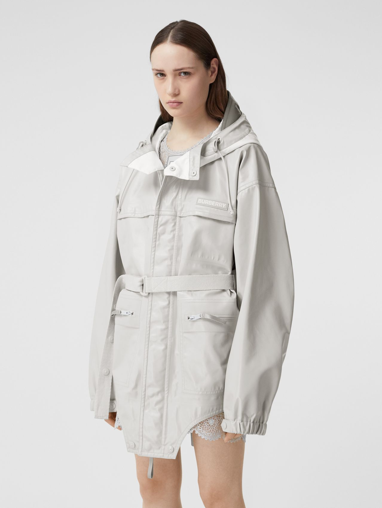 Cut-out Hem Coated Nylon Parka in Light Pebble Grey