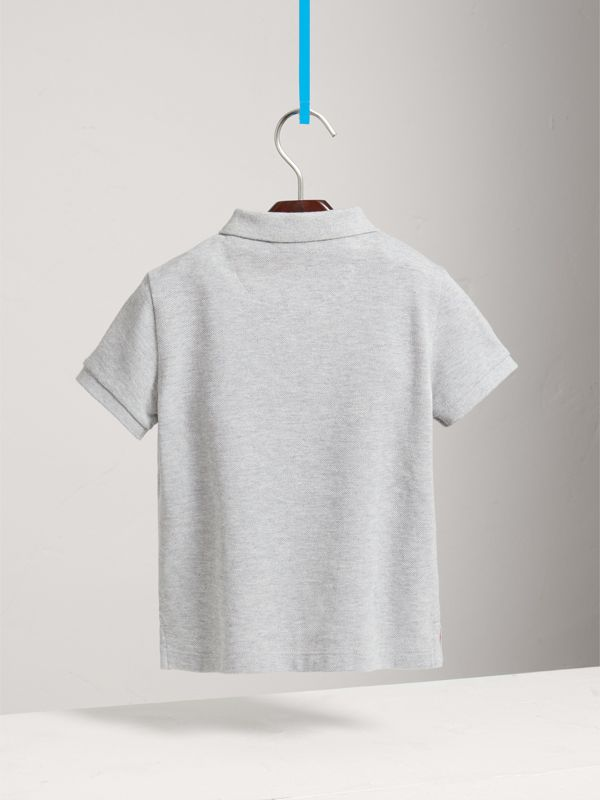 Check Placket Polo Shirt in Pale Grey Melange - Boy | Burberry - cell image 3