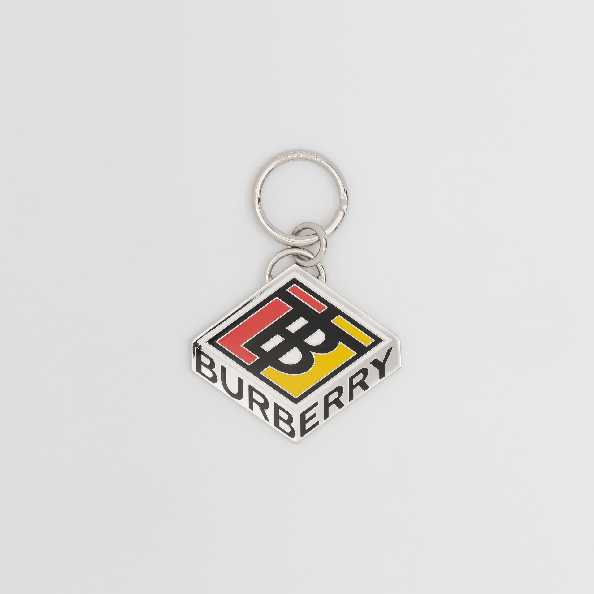Logo Graphic Palladium-Plated Key Ring in Multicolour - Men | Burberry - gallery image 0