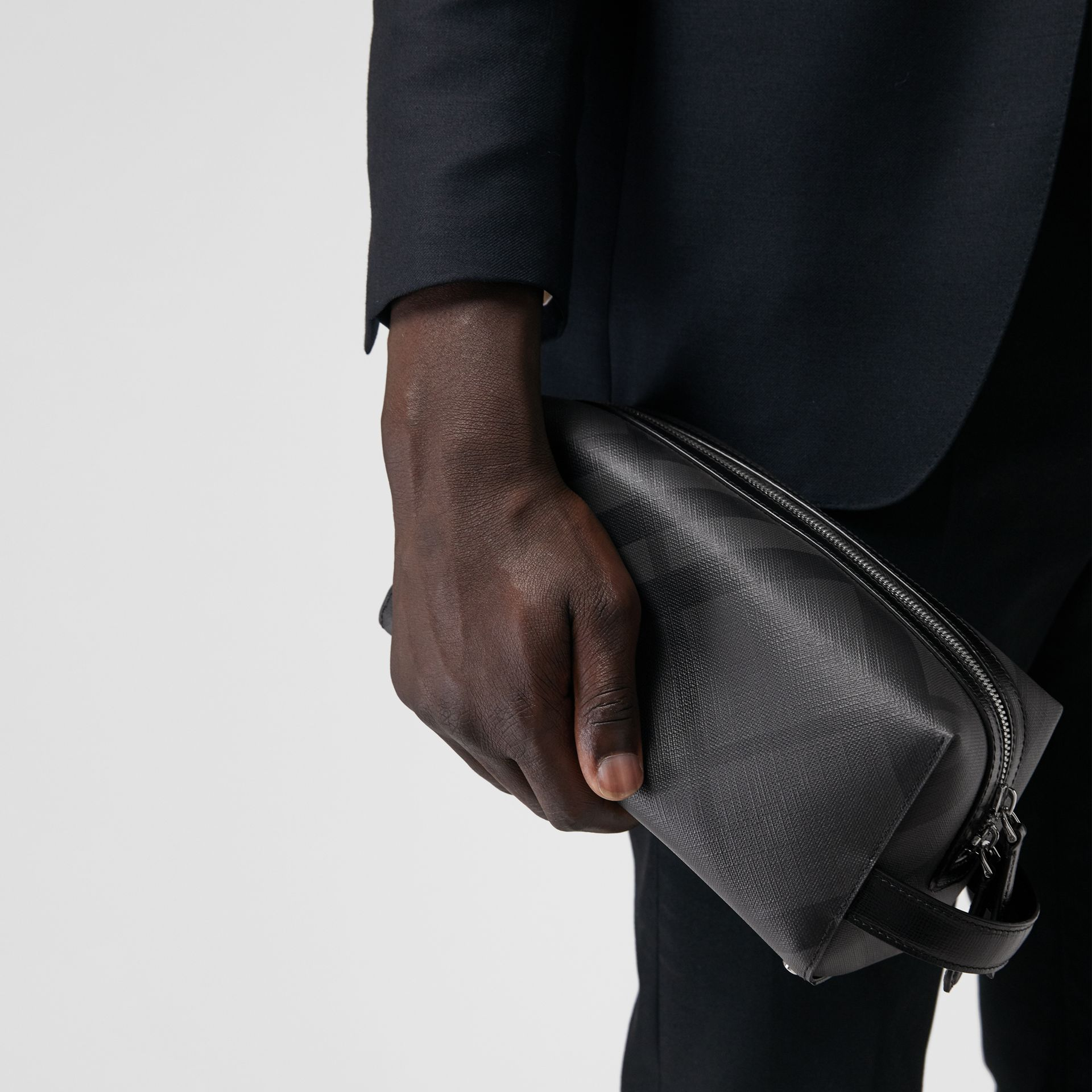 London Check and Leather Pouch in Charcoal/black | Burberry United Kingdom - gallery image 3