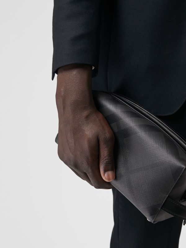 London Check and Leather Pouch in Charcoal/black | Burberry United Kingdom - cell image 3