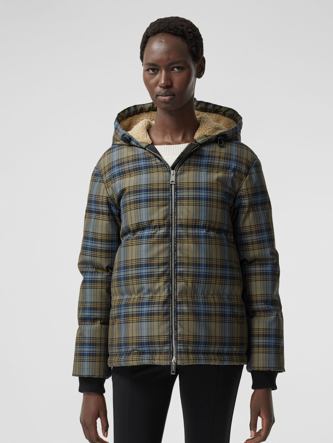 Logo Jacquard Check Hooded Puffer Jacket in Pale Green