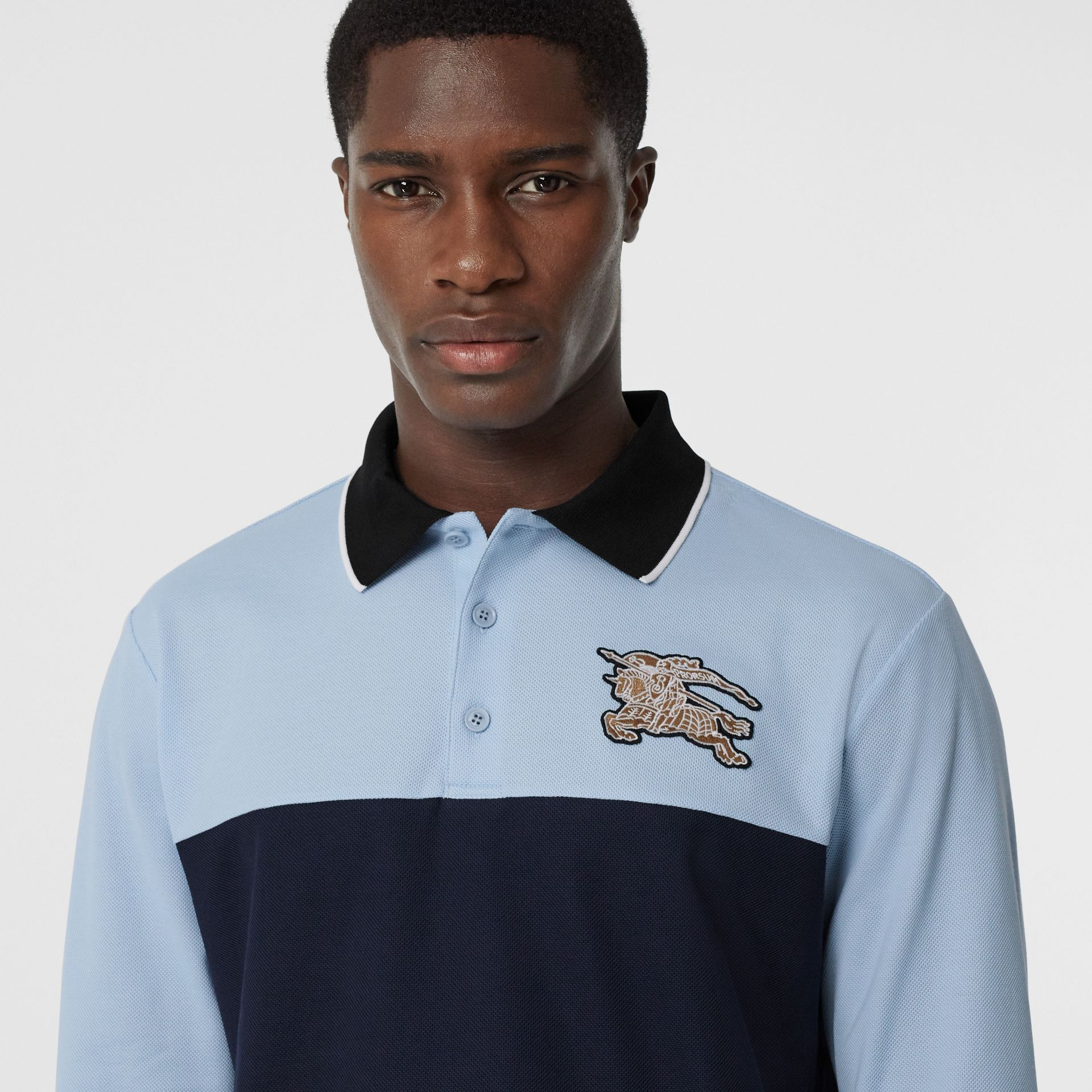 Long-sleeve Logo Graphic Cotton Piqué Polo Shirt in Pale Blue - Men | Burberry United Kingdom - gallery image 1