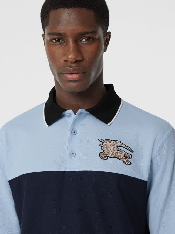 Long-sleeve Logo Graphic Cotton Piqué Polo Shirt in Pale Blue - Men | Burberry - cell image 1