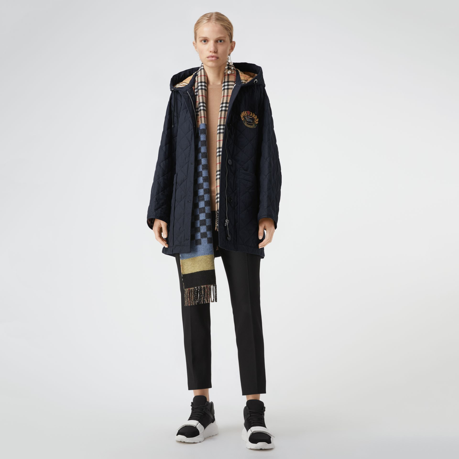 Lightweight Diamond Quilted Hooded Parka in Navy - Women | Burberry - gallery image 0