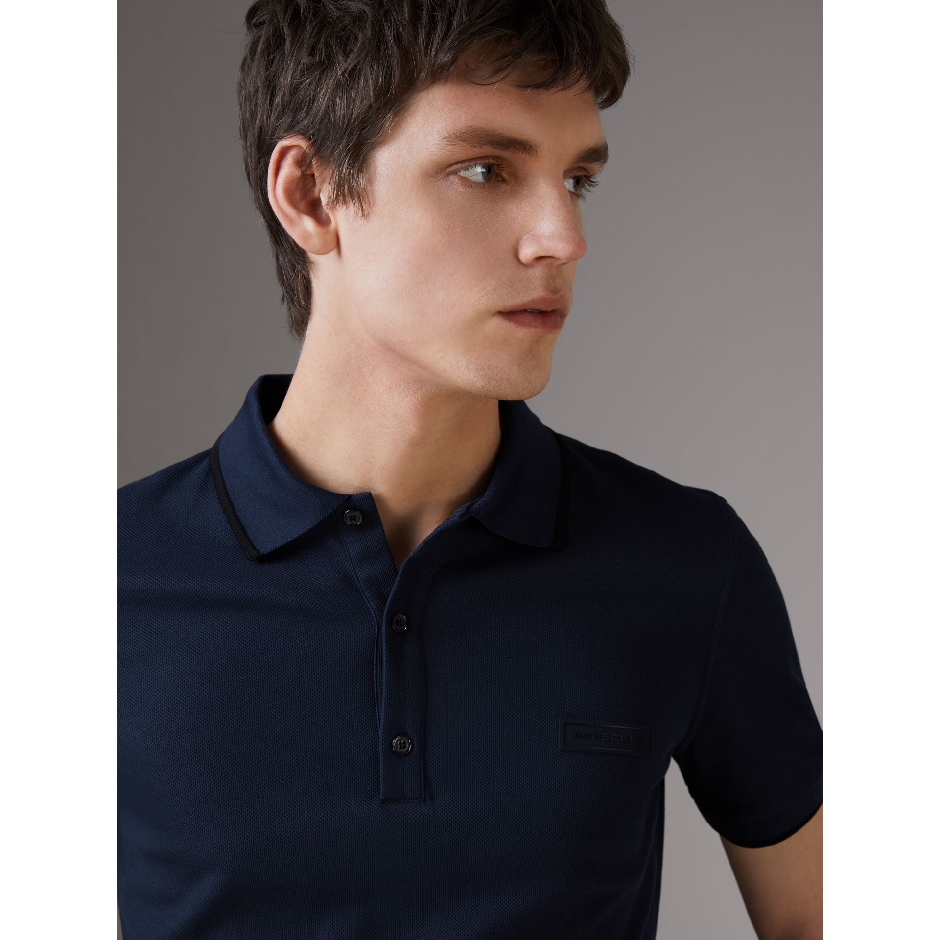 Cotton Piqué Polo Shirt in Navy - Men | Burberry Singapore - gallery image 1