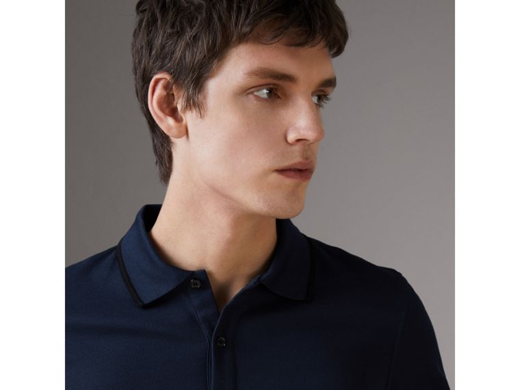 Cotton Piqué Polo Shirt in Navy - Men | Burberry Singapore - cell image 1