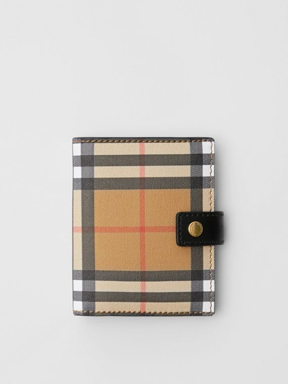 Small Vintage Check and Leather Folding Wallet in Black