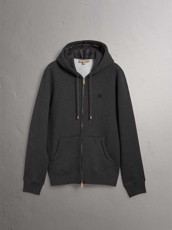 Hooded Cotton Jersey Top in Charcoal Melange - Men | Burberry Australia - cell image 3
