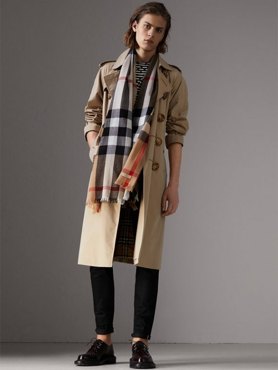 Lightweight Check Wool Cashmere Scarf in Camel | Burberry - cell image 3