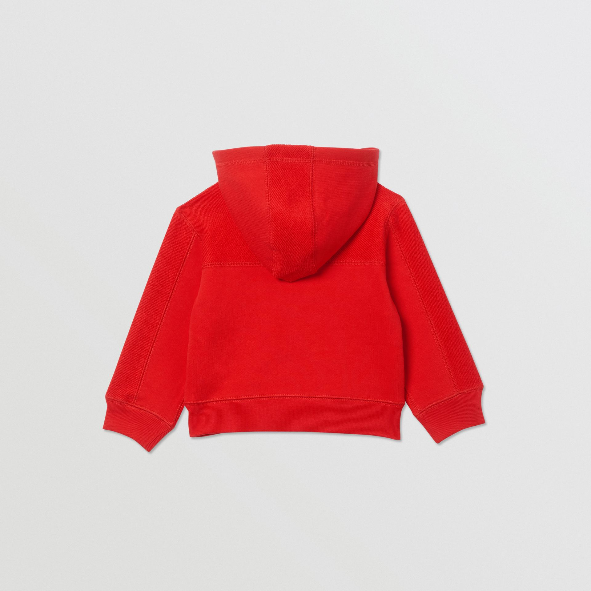 Logo Graphic Cotton Hooded Top in Bright Red - Children | Burberry - gallery image 3