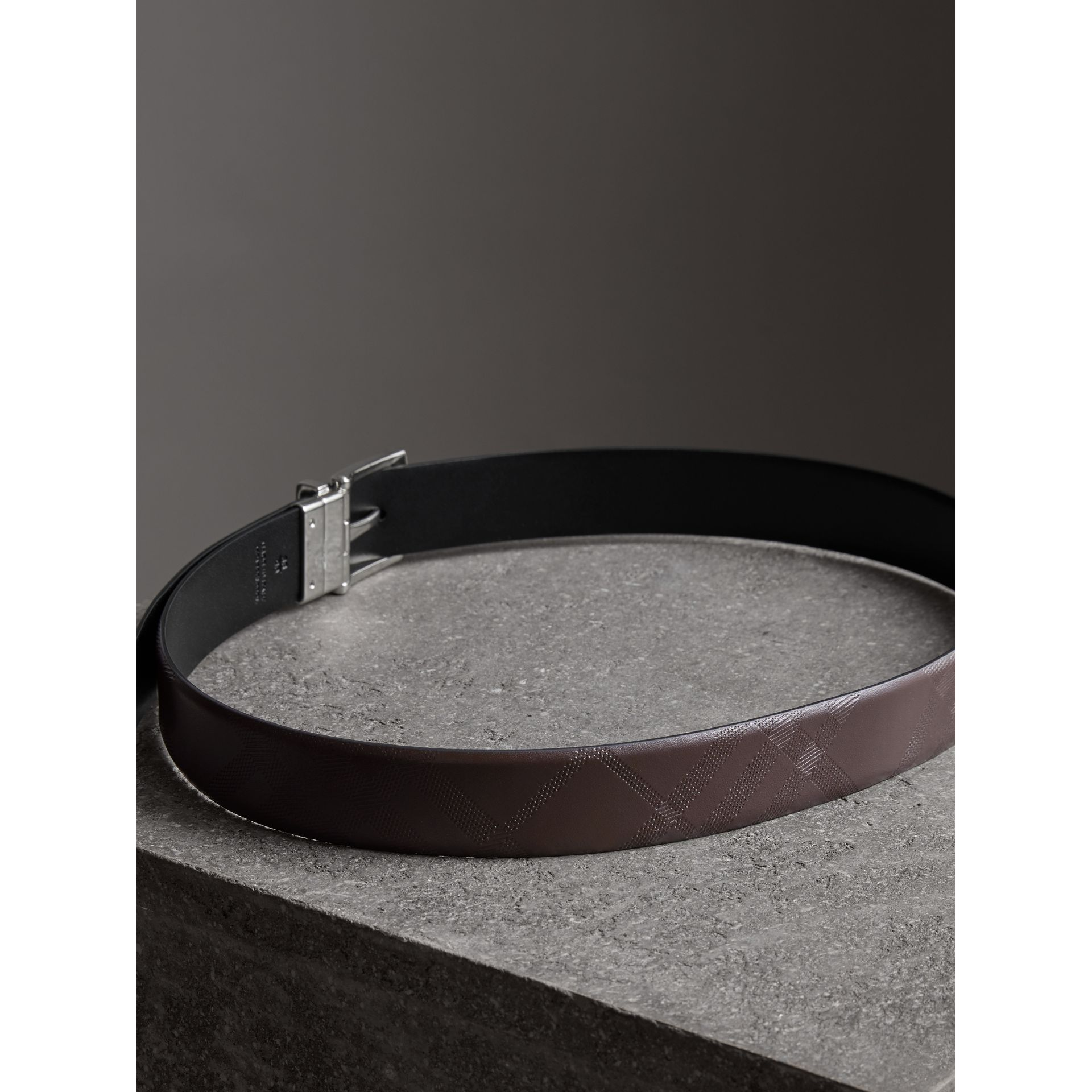 Reversible London Leather Belt in Dark Clove Brown/black - Men | Burberry - gallery image 3