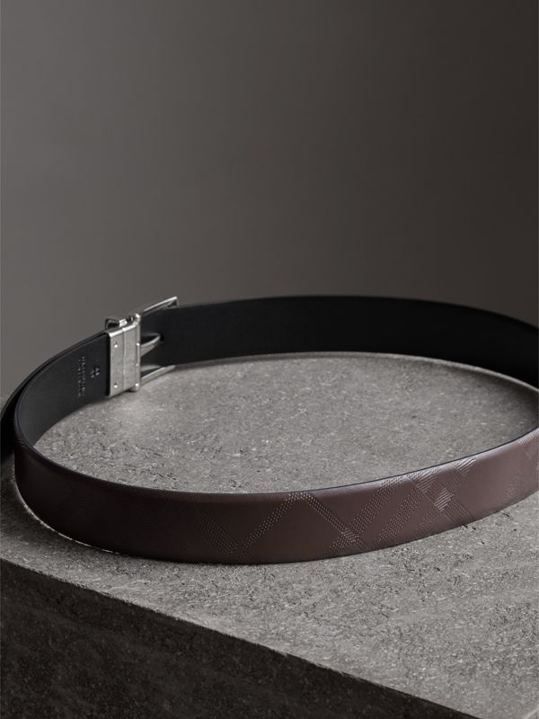 Reversible London Leather Belt in Dark Clove Brown/black - Men | Burberry - cell image 3