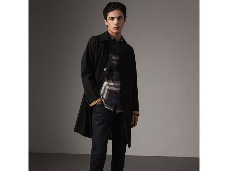 Check Cotton Flannel Shirt in Black - Men | Burberry United Kingdom - cell image 4