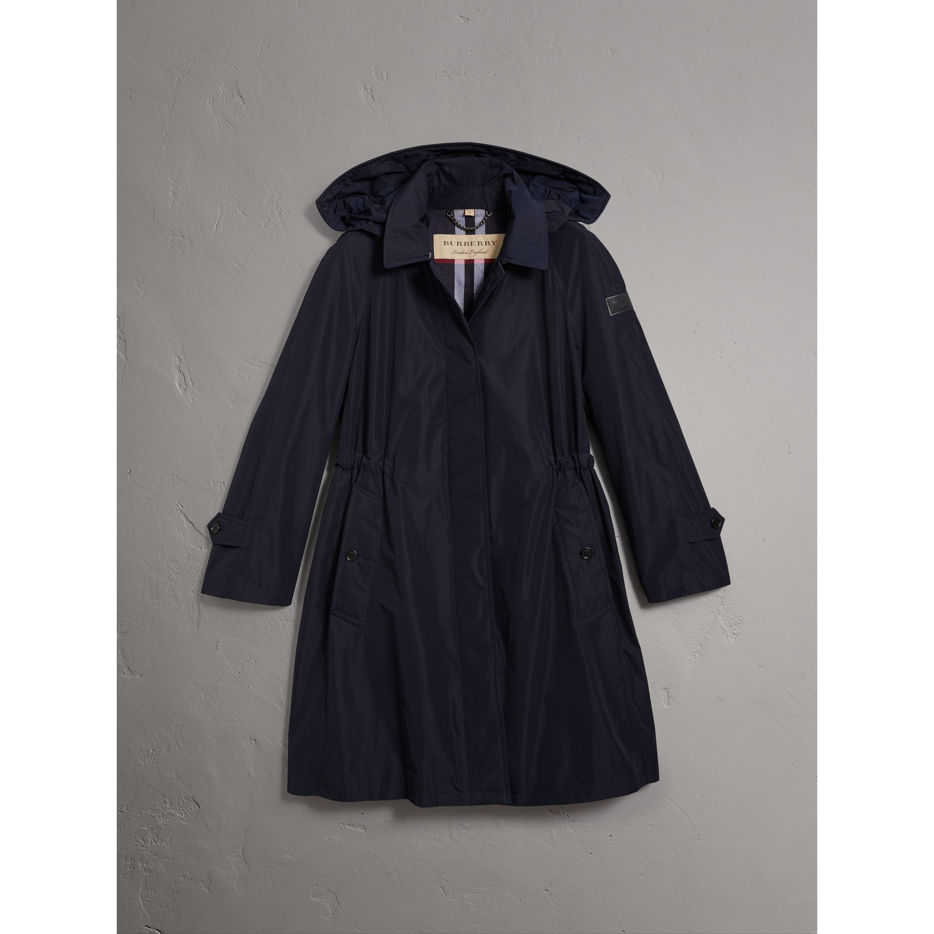 Detachable Hood Showerproof Car Coat in Navy - Women | Burberry - gallery image 4