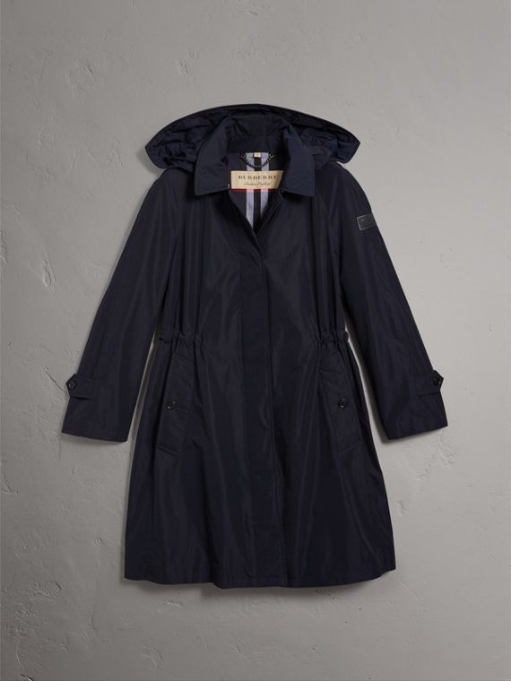 Detachable Hood Showerproof Car Coat in Navy - Women | Burberry United States - cell image 3