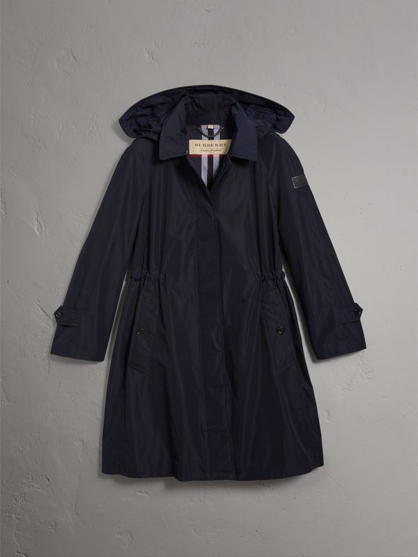 Detachable Hood Showerproof Car Coat in Navy - Women | Burberry - cell image 3