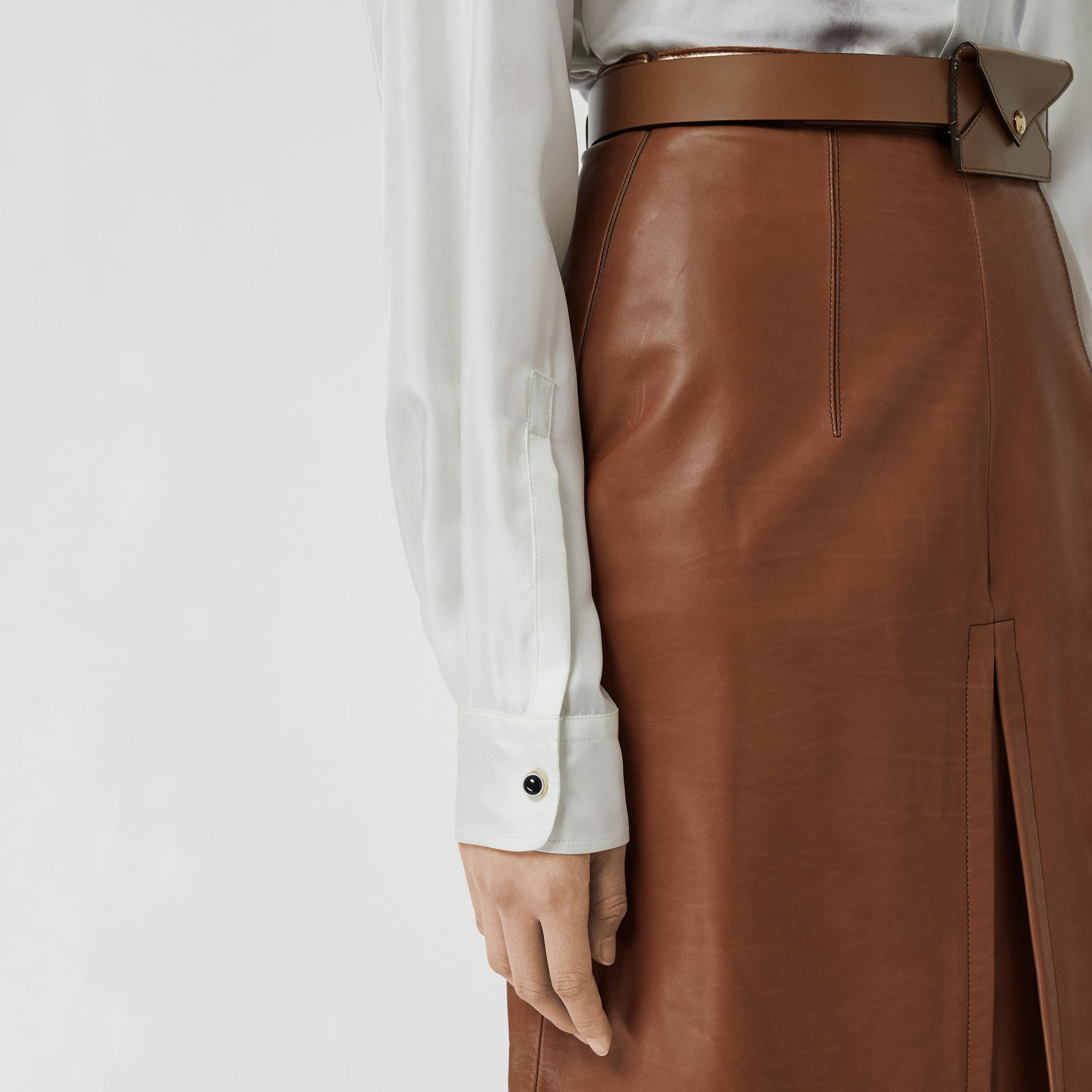 Box Pleat Detail Leather A-line Skirt in Flaxseed - Women | Burberry - gallery image 1