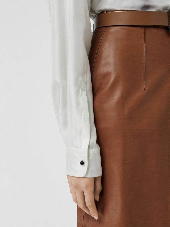 Box Pleat Detail Leather A-line Skirt in Flaxseed - Women | Burberry - cell image 1