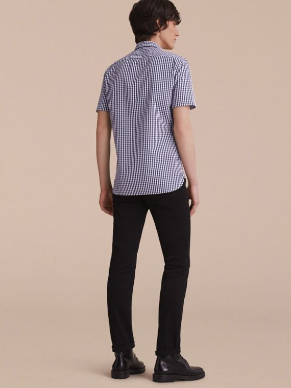 Short-sleeved Gingham Cotton Poplin Shirt in Ink Blue - Men | Burberry - cell image 2