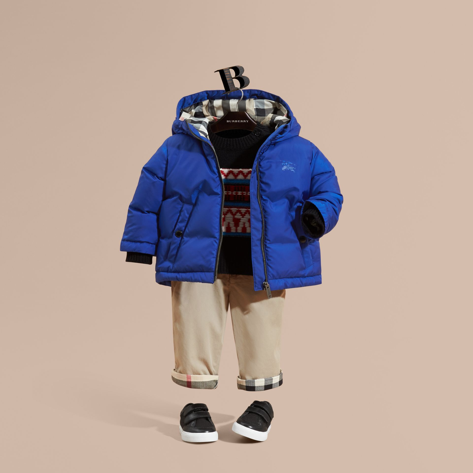 Brilliant blue Down-filled Hooded Puffer Jacket Brilliant Blue - gallery image 1