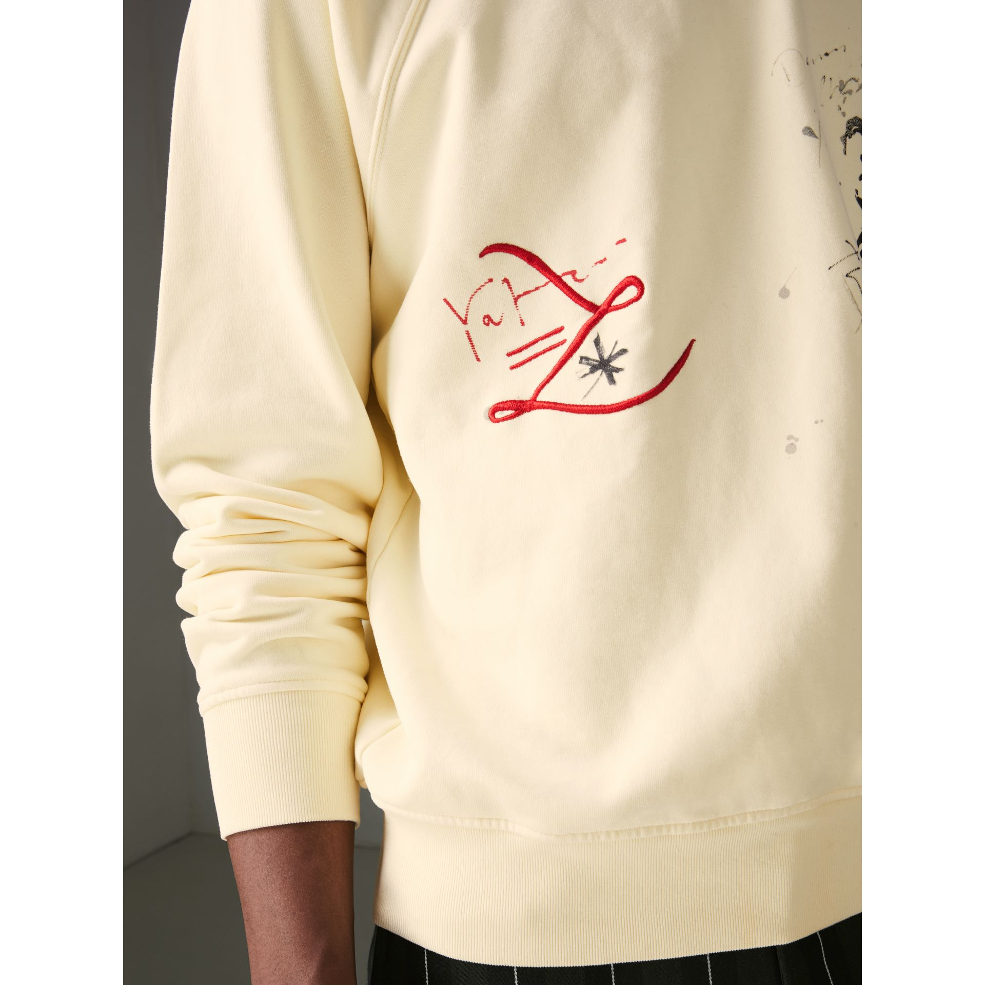 Portrait and Logo Print Cotton Sweatshirt in Pale Yellow - Men | Burberry - gallery image 1