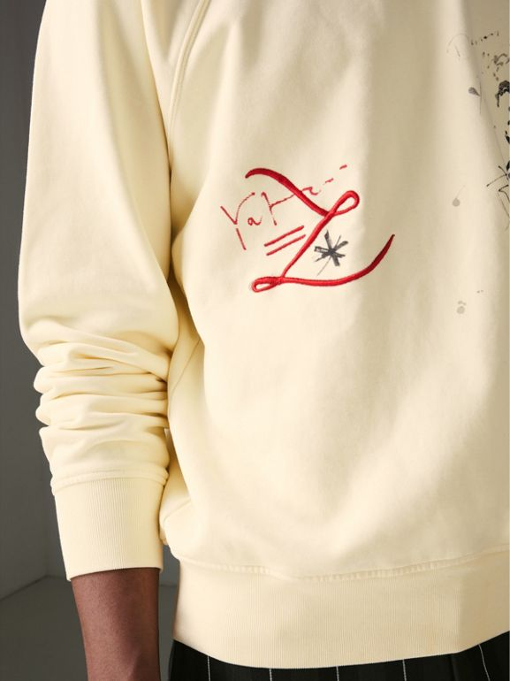 Portrait and Logo Print Cotton Sweatshirt in Pale Yellow - Men | Burberry - cell image 1