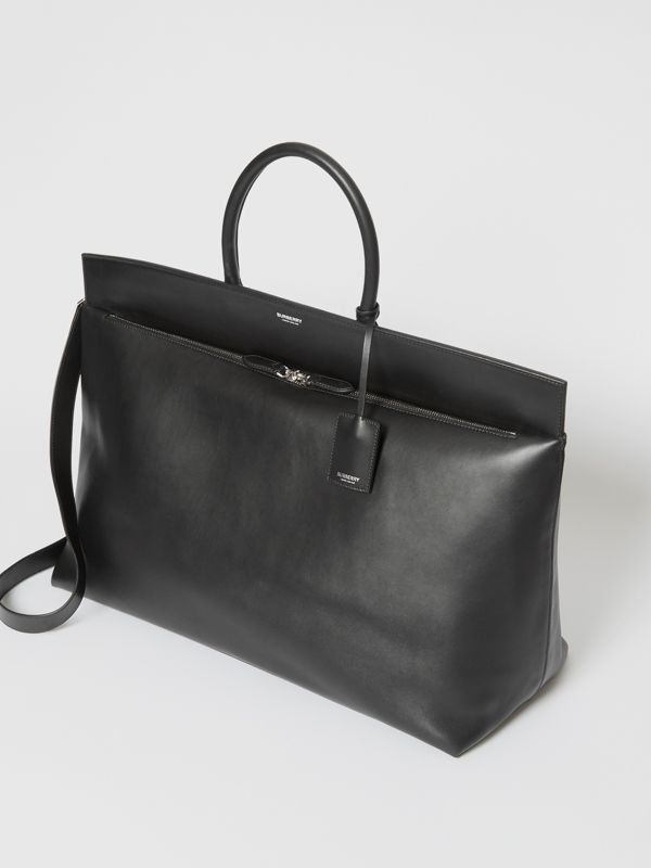 Extra Large Leather Society Top Handle Bag in Black - Men | Burberry - cell image 2