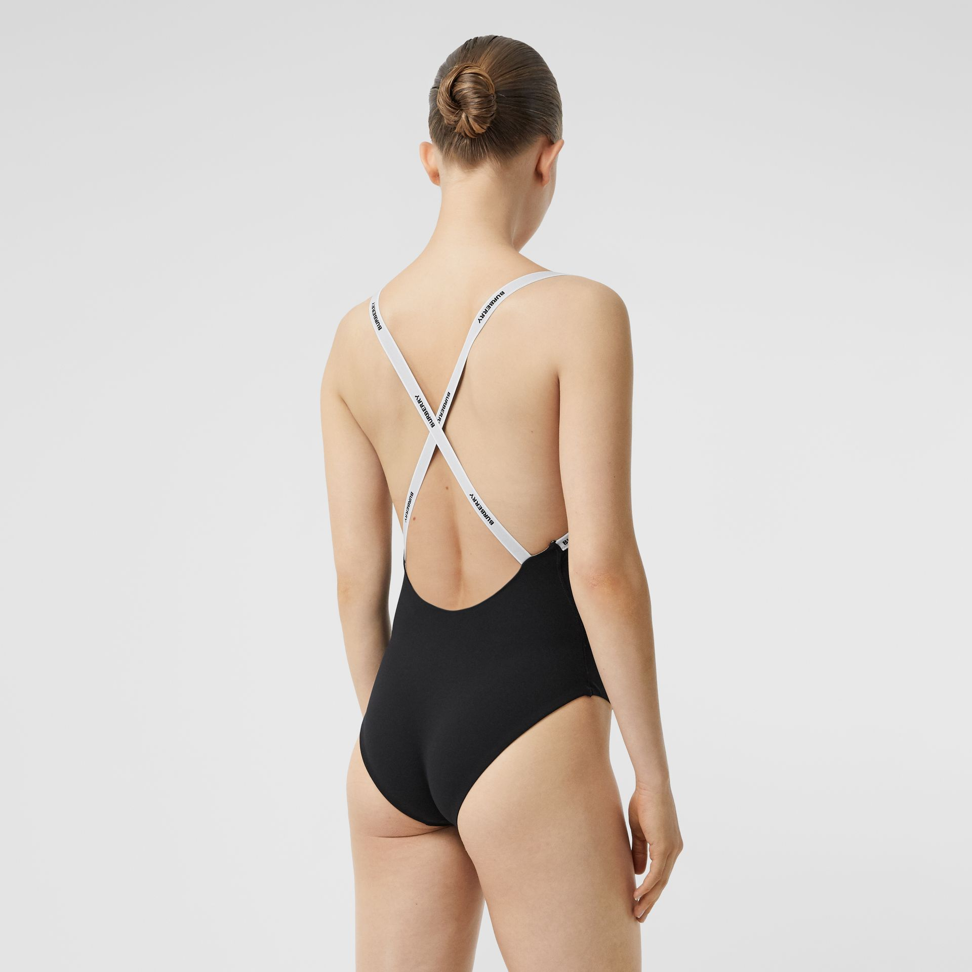 Logo Tape Swimsuit in Black - Women | Burberry Canada - gallery image 1