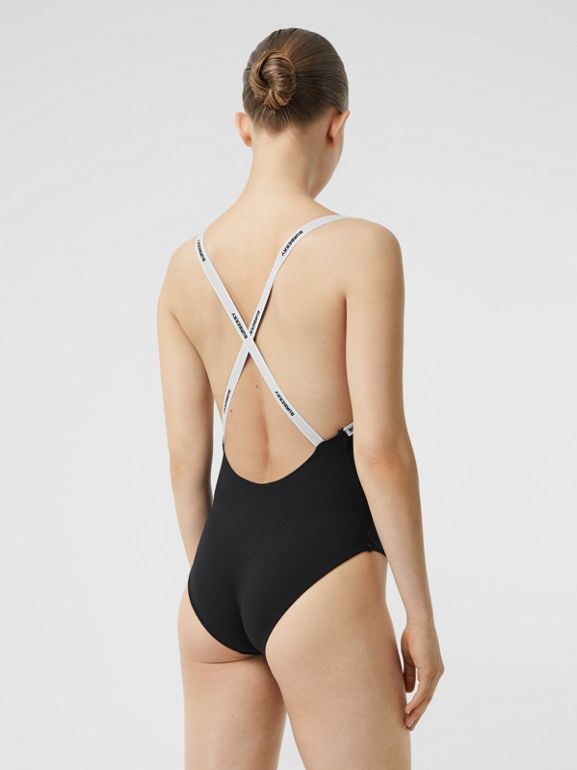 Logo Tape Swimsuit in Black - Women | Burberry Canada - cell image 1