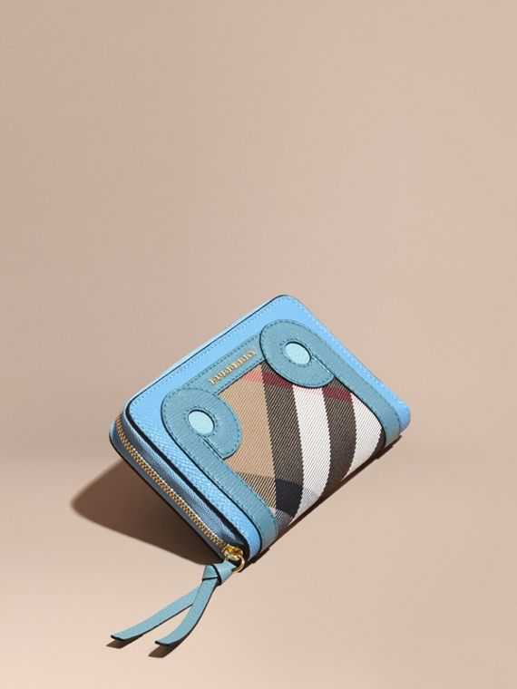 Grainy Leather Appliqué House Check Ziparound Wallet