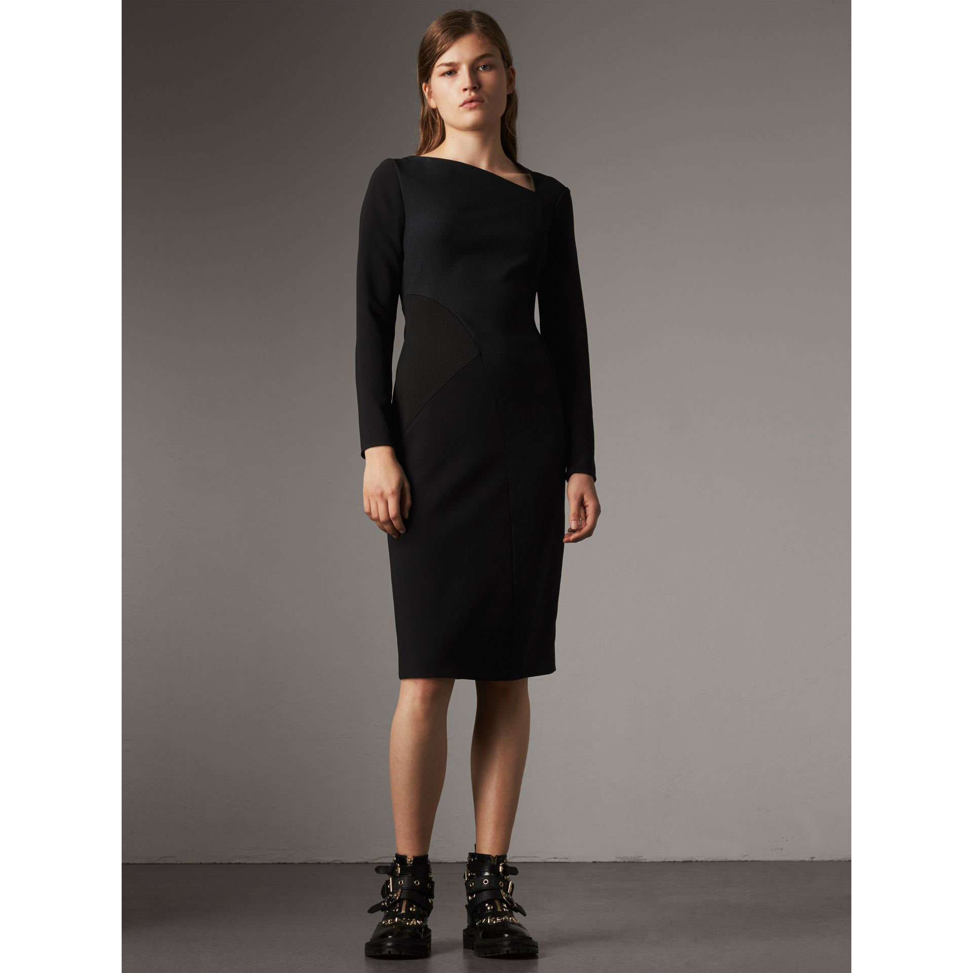 Slash-neck Panelled Dress in Black - Women | Burberry - gallery image 5